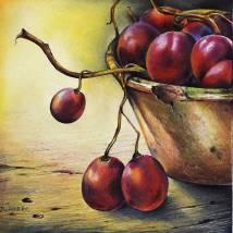 Triptychon  mit Weintrauben Bild